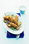 Mozzarella sticks with courgette and yogurt
