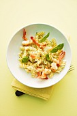 Fusilli with prosecco sauce and prawn tails