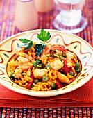 Jambalaya (Reis mit Garnelen und Putenfleisch, USA)
