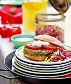 A hamburger and coleslaw