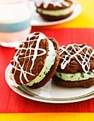 Mint chocolate ice cream sandwiches