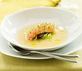 Lobster consommé with lobster flesh and tagliatelle