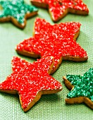 Red and green Christmas star biscuits