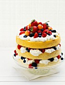 A three layer berry cake