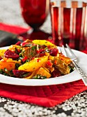 A pumpkin medley with beetroot and beef