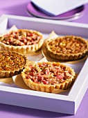 Rhubarb tartlets and pecan nut tartlet