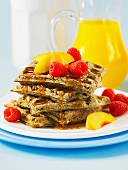 Walnut and flax seed waffles with fruit