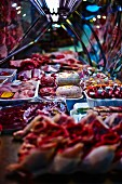 A butcher's stall at a market in Italy