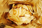 A bag of potato crisps (seen from above)