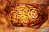A bag of salt pretzels (seen from above)