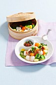 Steamed vegetables with dried tomato sauce