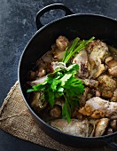 Chicken in white wine with mushrooms and shallots