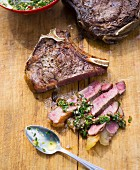 Grilled ox chops with chimichurri