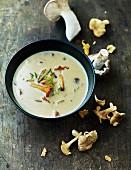 Mushroom soup with chanterelle mushrooms