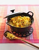Cauliflower curry in a pot