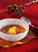 Broth with star-shaped croutons (Christmas)