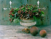 Arrangement of blackberries in decorative stone urn