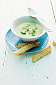 Cream of broccoli soup with crispy bread
