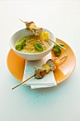 Lentil curry soup with chicken skewers