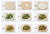 Gemüsepizza mit Rucola, Kirschtomaten und Paprika zubereiten