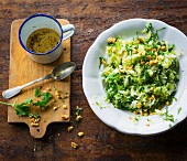 Pointed cabbage salad with chilli, coriander and peanuts