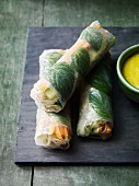 Rice paper rolls filled with vegetables and mint