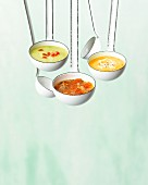 Three different soups in ladles