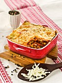 Vegetable lasagne with grated cheese
