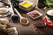 Various oriental herbs and spices