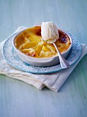 Nectarine flan with creamy ice cream