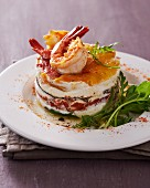 A vegetable tartlet with prawns