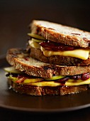 Toasted apple and cheese sandwiches
