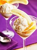 Vanilla ice cream with banana and orange