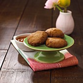 Buckwheat biscuits with damson sauce