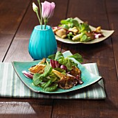 Lamb's lettuce with radicchio and oyster mushrooms