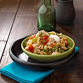 Steamed cod with tomato and pepper rice
