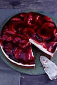 An apple and elderberry cake, sliced