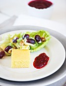 Waldorf salad with cornbread and cranberry sauce for Thanksgiving