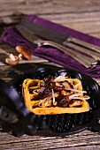 Gorgonzola waffles with shiitake mushrooms and bean sprouts