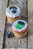 Two Frankenstein cupcakes for Halloween