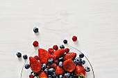 Mixed berries on a glass plate