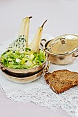 Endive salad with pears and Roquefort served with bread