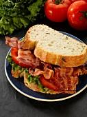 A crispy bacon, lettuce and tomato sandwich