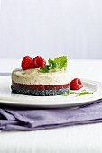 A sesame seed and raspberry layer cake
