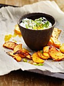 Turnip wedges with spinach and yogurt
