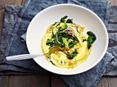 A fennel and spinach medley with polenta