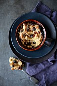 Bread-and-butter pudding with raisins