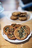 A plate of pumpkin seed biscuits