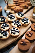 Blueberry tartlets, financiers and chocolate cakes in a bakery