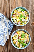 Sweetcorn salad with fava beans, radishes and cucumber